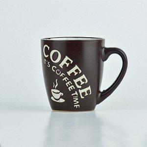 Caneca Coffee Time Marrom em Cerâmica