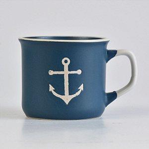 Caneca Ocean Azul Âncora em Cerâmica