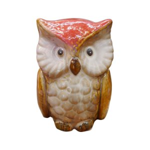 Mini Coruja Vermelha em Cerâmica