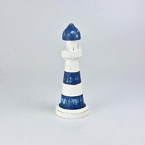 Farol Decorativo Azul e Branco Pequeno