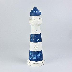 Farol Decorativo Azul e Branco Médio