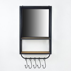 Prateleira com Espelho e Ganchos