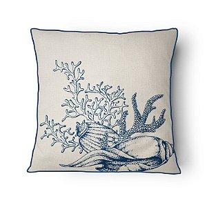 Almofada Náutica Conchas e Coral Blue