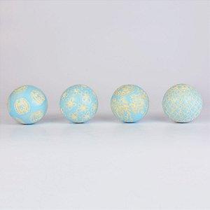 Conjunto de Bolas Decorativas Azul Claro e Bege