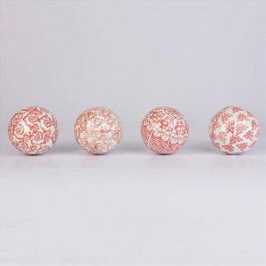 Conjunto de Bolas Decorativas Vermelho e Branco