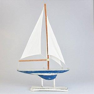 Enfeite Veleiro com Base Azul e Branco