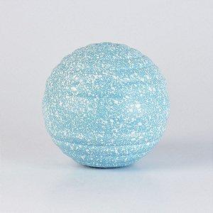 Enfeite Bola Decorativa Azul Claro e Branco em Cerâmica M