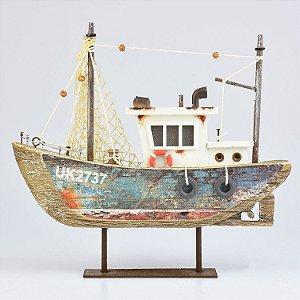 Barco Envelhecido com Led Azul P