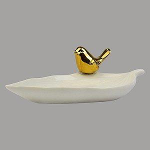 Enfeite Porta Objetos Folha Branca com Pássaro