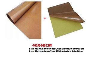 Kit 2 Manta Teflon Com e Sem  Adesivo Sublimação Prensa 40x40cm