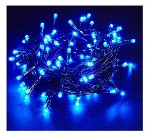 Pisca Pisca Natal Led 100 Lâmpadas Azul 8 funções 110v