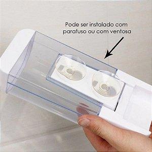 Dispenser Saboneteira e Alcool Gel C/ Reservatorio Ventosa