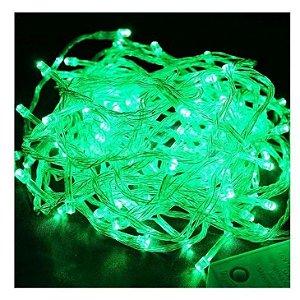 Kit com 2 Pisca Pisca Verde Natal Led com 100 Lâmpadas 8 funções 220v Fio Transparente