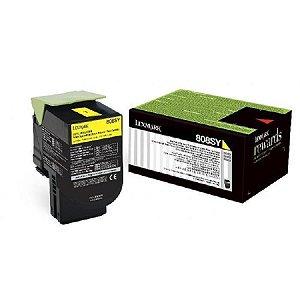 Toner Original Lexmark 808 808Sy 80C8SY0 Yellow Cx310 Cx410 Cx510 2K