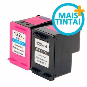 Kit 2 un Cartucho Compativel HP 122xl Black 122xl color Deskjet D1000 1010 1050 D2000