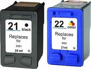 Kit 2un Cartucho Compatível 21 Preto E 22 Color