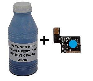 kit Po cf 401 35g+Chip Para  Cf401a cf401 201A Cyan  M252 M277 M274n  1.4K