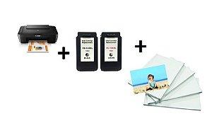 Impressora Multifuncional Canon Pixma MG2510 + Cartuchos XL 10Ml + Papel Foto