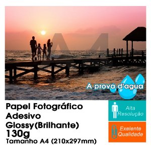 Pct Com 100 Folhas A4 Papel Fotografico Adesivo À Prova D´água Glossy Brilhante 130g