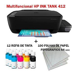 Multifuncional Hp Tank 412 z6z99a wi-fi c/ 12 Refis de Tinta + 100 Fls Papel Fotografico +Nf