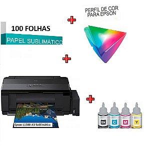 Impressora Sublimatica Epson EcoTank L1300 A3 c/ 4 Refis de Tinta 100ml + 100 Fls Papel Transfer