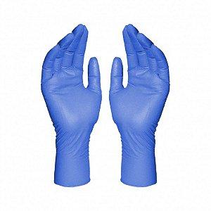 Luva Procedimentos Nitrílica Azul Sem Pó Tam M C/100 Und BomPack