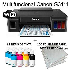 Multifuncional Canon Maxx Tinta G3111 Wi-fi c/ 12 Refis de Tinta + 100 Fls Papel Fotografico A4 +Nf