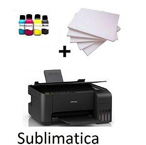 Multifuncional Epson EcoTank L3110 Sublimatica + tinta + 100fls Papel Sublimático +perfil