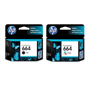 Combo Cartuchos Hp Original 664 preto F6v29ab + 664 Color F6v28ab