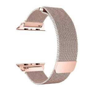 Pulseira Loop Milanese Malha de Aço P/ Apple Watch 42mm | 44mm R. Gold