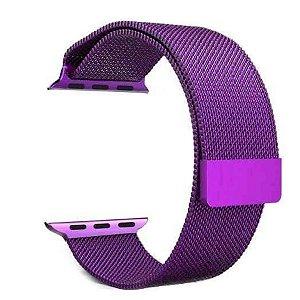 Pulseira Loop Milanese Malha de Aço P/  Watch 42mm | 44mm Roxa