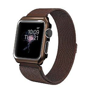 Pulseira Loop Milanese Malha de Aço P/ Apple Watch 42mm | 44mm Brown