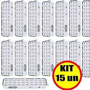 Kit 15 un Luminária Luz De Emergência 30 Leds Premium Segurimax Bivolt