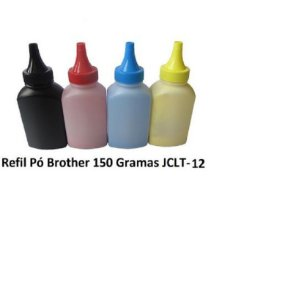 Kit 4 Refil Pó Toner 150Gr Jadi K M C Y  P/ Brother Color Tn315 Tn311 Tn319 Tn210 Tn221 Tn225 JCLT-12