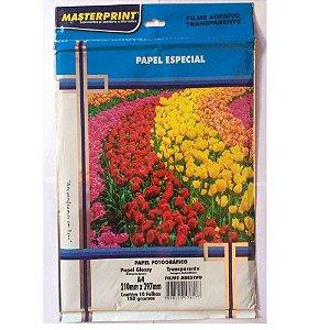 Pct Com 10 Folhas Papel Foto Filme Adesivo Transparente 150G A4