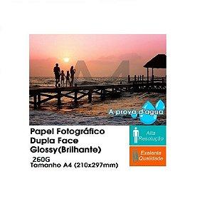Pacote Com 100 Folhas A4 Papel Fotografico Dupla Face Glossy Brilhante 260g