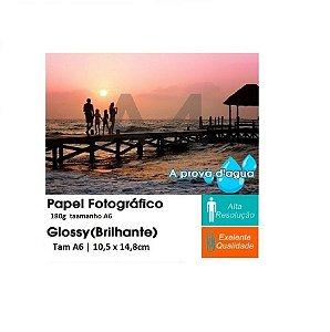 Pct Com 20 Folhas A6 Papel Fotografico Glossy Brilhante 180g Tam A6 | 10,5 x 14,8cm