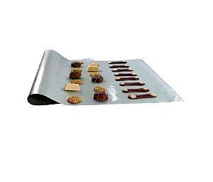 3 Folhas Teflon Prata Antiaderente P/ Forno Biscoitos Salgados 60x40 Cm Silver Premium