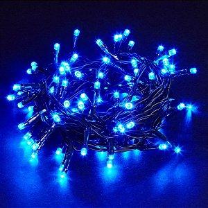 Pisca Pisca Natal Led 100 Lâmpadas Azul 8 funções 110v Fio | Transparente