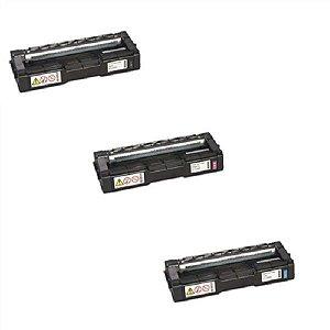 Kit 3 Toner Color Compativel Ricoh C252HA SpC242 SpC232 SpC252 M C Y