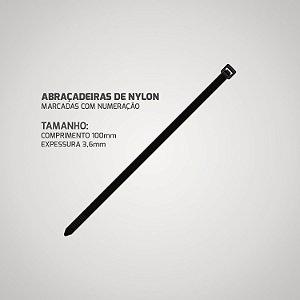 1000 Abraçadeira Preta Nylon Enforca Gato 3,6 x 100 mm Com Numeração