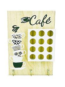 Quadro Porta Cápsulas de Café com 12 compartimentos Marfim 34x24cm