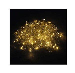 Pisca Pisca Natal Led 100 Lâmpadas Branco Quente 8 funções 110v