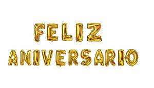 Kit Balão Metalizado Feliz Aniversário Dourado 41cm
