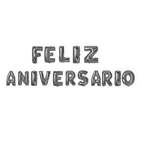 Kit Balão Metalizado Feliz Aniversário Prata 41cm