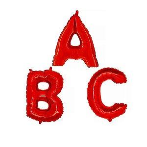 Kit Balão Metalizado Feliz Aniversário Vermelho 41cm