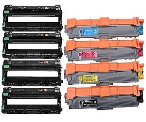 Kit 4 Fotocondutor Dr221 Dr221cl + 4 Toner Tn221 Tn-221 Compativel Brother K M C Y
