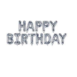 Kit Balão Metalizado Happy Birthday Prata 40cm | 13 letras