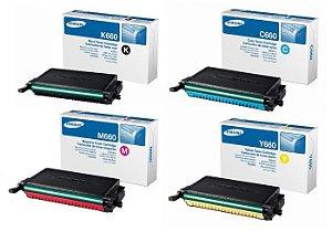 Kit 4 cores Toner Original Samsung Clp-C660b 660 610 K M C Y