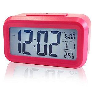 Relógio Mesa Led Digital Calendário Termômetro Alarme Desp Rosa
